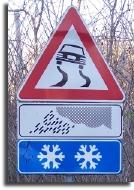 italian road sign slippery ice snow